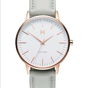MVMT Gray Watch White Face Rose Gold Trim